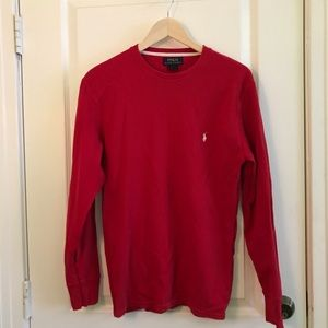 mens red polo sweater